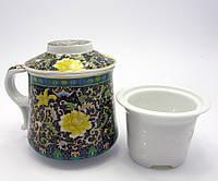 """Чашка заварочная с ситом (300мл.) (BN1380-2) """"Цветочный орнамент"""" (h-9cм, d-8см)"""