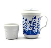 """Чашка заварочная с ситом (330мл.)""""Синие цветы"""" (h-13cм, d-7,5см)"""