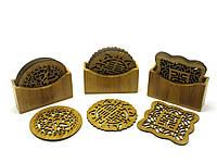Подстаканники бамбуковые резные (6 шт) (11х10х3,5 см)