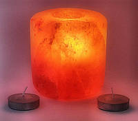 Подсвечник соляной шлифованный цилиндрический (S-021) (d-9,h-9 см)