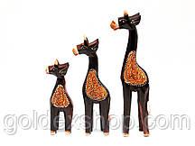Статуэтки Жирафа 3 шт деревянные (24х5х3,5 см 19х4,5х3 см 15х4,5х3 см)