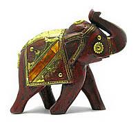 Слон деревянный винтажный с медными вставками (h-16 см)