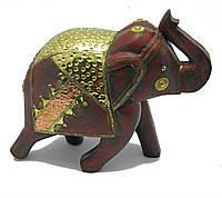 Слон деревянный винтажный с медными вставками (h-25 см)