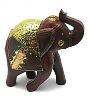 Слон деревянный винтажный с медными вставками (h-30 см)