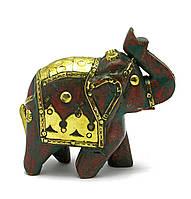 Слон деревянный винтажный с медными вставками (h-9 см)