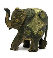Слон деревянный с медными вставками (h-13.5см)