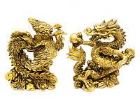 Дракон и Феникс каменная крошка (дракон 12,5х12х7 см,феникс 12х10,5х7 см)