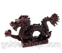 Статуетка Дракон з перлиною кам'яна крихта коричневий h-13 см