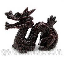 Статуетка Дракон з рогом кам'яна крихта коричневий (8х10 см)