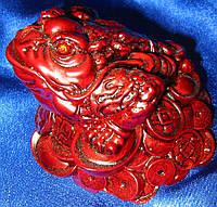 Жаба на монетах каменная крошка коричневая (10х10,5 см)