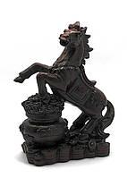 Кінь на чаші багатства коричневий Статуетка кам'яна крихта (18х13х7 см)