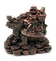Хотей на черепахе драконе каменная крошка коричневый (25х25х19 см)