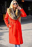 Женское кашемировое зимнее пальто с искусственным меховым воротником