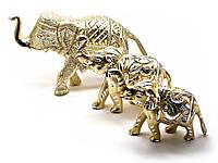 Статуэтки Слоны из алюминия резные (набор 3 шт).