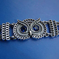 Серебряный женский браслет Сова с фианитами, 190мм, фото 2