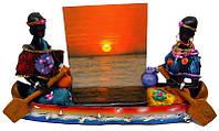 Африканцы в лодке с фоторамкой (19х11,5х5 см)