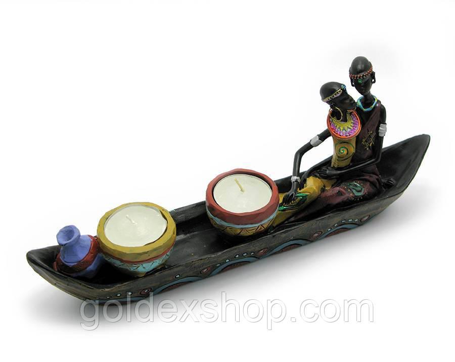 Подсвечник африканцы в лодке со свечами (28см)