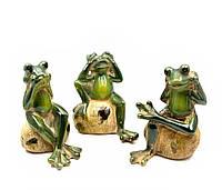 Лягушки керамические н-р 3 шт (не вижу, не слышу, не говорю) (12,5х9,5х8 см) (10808)
