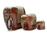 Слоны керамические 3 шт (19,5х18,5х11см 12х12х8см 7х7,5х4,5см)
