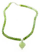 Ожерелье нефритовое с кулоном (23 см)