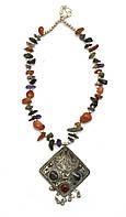 "Ожерелье с каменьями агата и кулоном ""Ромб"""