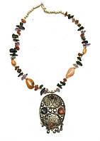 """Ожерелье с каменьями агата и кулоном """"Овал"""""""