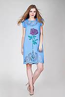 Пошита сукня заготовка з перфорацією для вишивки бісером, нитками з розою