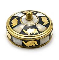 Шкатулка бронзовая с перламутром (d-7,h-3,5 см)