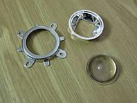 Комплект оптики для светодиода 20-100Вт, линза 44мм (стекло) 60градусов+ рефлектор (пластик) + крепление (железо)