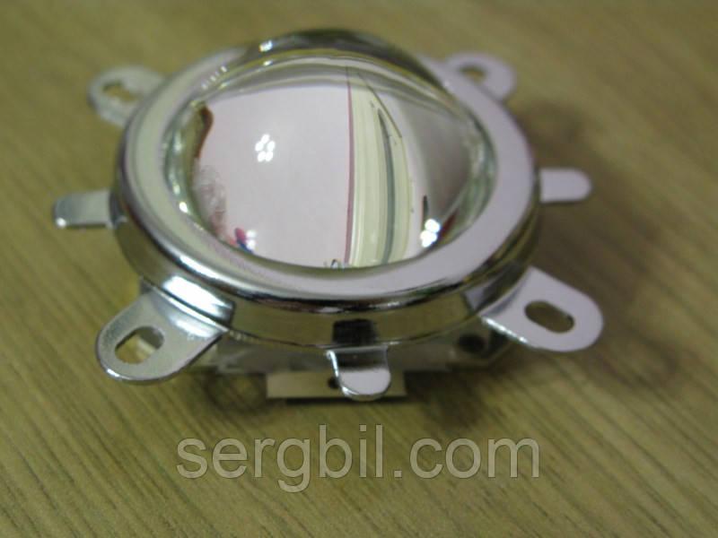 Комплект оптики для светодиода 20-100Вт линза 44мм(стекло) 60°+рефлектор + крепеж