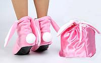 Розовый мешочек с белыми лентами
