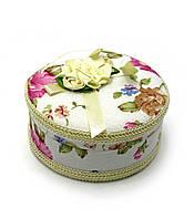 Шкатулка круглая ткань (9,5х9,5х5 см)