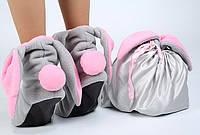 Серый мешочек с розовыми лентами