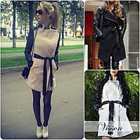 Стильное кашемировое Пальто с кожаными рукавами и с поясом