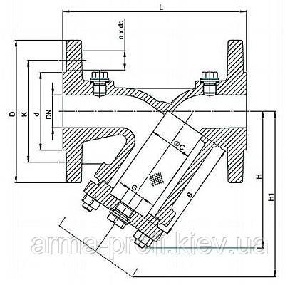 Схема размеров фильтра Zetkama 821