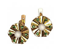 Очаровательные золотые сережки 585* с жемчугом и фианитами