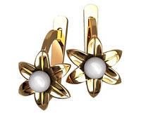 Прелестные золотые сережки 585* с жемчугом