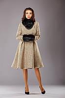Пальто накладний комір + муфта шерсть беж