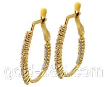 Стильные золотые серьги 585  пробы с мелкими Фианитами, цена 4 840 ... 53115e64a20