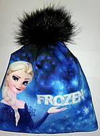 Зимняя шапка для девочки Фрозен, Холодное сердце, фото 1