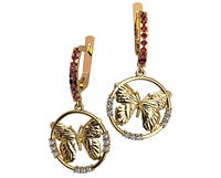 Шикарные золотые серьги 585* пробы в форме бабочек