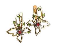 Восхитительные небольшие золотые серьги 585* пробы в форме бабочек
