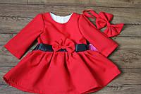 Повседневно нарядное платье на девочку с пышной юбкой и бантом на поясе подклад х/б