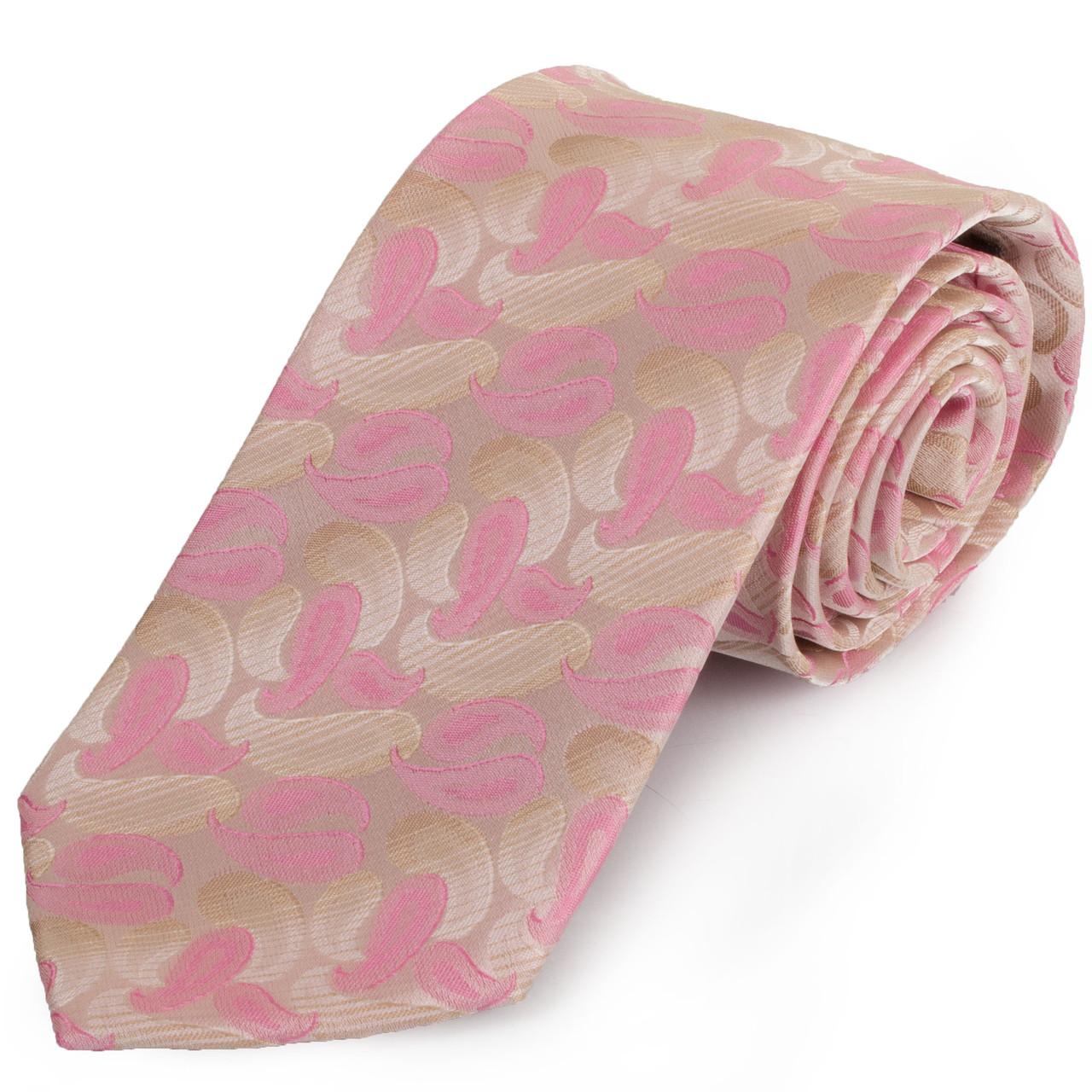 Сучасний чоловічий широкий галстук SCHONAU & HOUCKEN (ШЕНАУ & ХОЙКЕН) FAREPS-06 рожевий