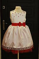 Детское пышное платье в украинском стиле с бусинами и фатиновым подъюбником