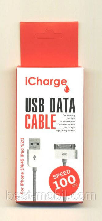 ICharge сетка металл USB cable iPhone 3/4/4S/iPad 1/2/3
