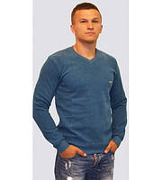 Мужской тёплый однотонный свитер цвета индиго