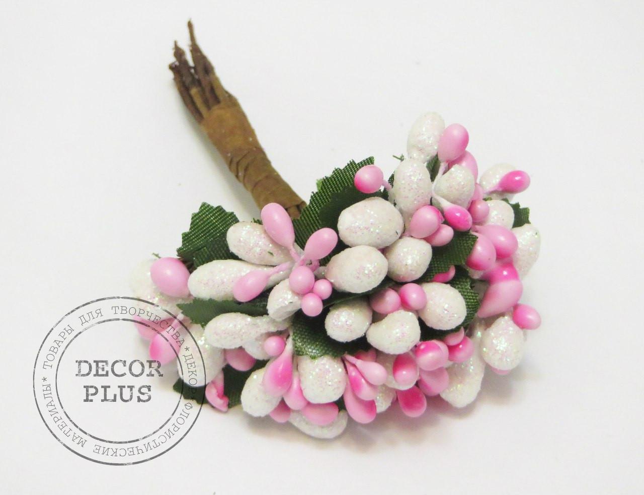 Тычинки блеск комби бело-розовые