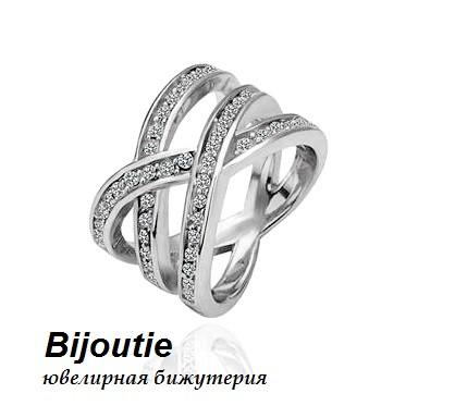 Кольцо БЕСКОНЕЧНОСТЬ ювелирная бижутерия белое золото 18К декор кристаллы Swarovski