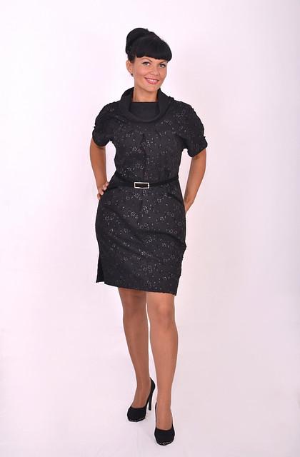 Платье женское спортивного стиля черное баллон свободное
